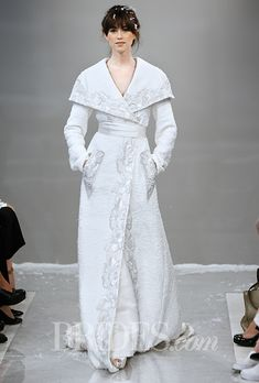 "Brides.com: . Trend: Outerwear. ""Yel Ana"" embroidered hand-woven tweed coat with a duchess satin shawl collar, Theia"