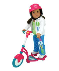 Love this Mini Scooter & Helmet for 18'' Doll on #zulily! #zulilyfinds