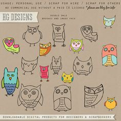 Free scrapbook doodle owls and paper from HG Designs