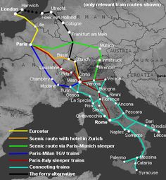 Route map,  to Italy by train