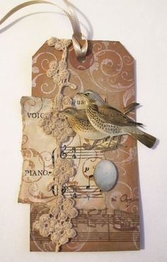 Tag Tuesday Challenge 'Music' by Velvet Moth Studio Atc Cards, Bird Cards, Card Tags, Gift Tags, Kirigami, Scrapbooking Vintage, Smash Book, Partition, Handmade Tags