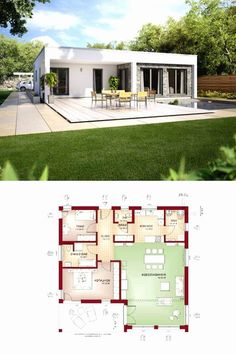 Modern House Plan with Pool House Floor Design, Modern House Floor Plans, Modern Bungalow House, Pool House Plans, Little House Plans, Small House Plans, Modern Small House Design, Flat Roof House, Architecture Sketches