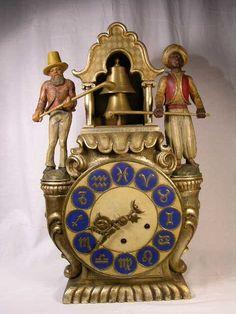 "Antique ""Blackamoor"" Carved Wooden Clock  c.1880"