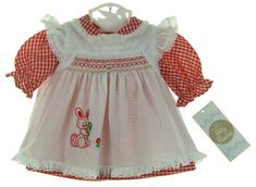 Pinafores were the usual dress for little girls. Smocked Baby Clothes, Babies Clothes, Vintage Baby Dresses, Little Girl Dresses, Check Dress, Raggedy Ann, Pinafore Dress, Baby Newborn, Easter Dress