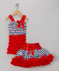 Take a look at this Red Stripe Ruffle Romper & Pettiskirt - Infant, Toddler & Girls by Royal Gem Clothing on #zulily today!
