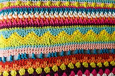 This vibrant blanket is designed especially for beginners to practise basic stitches and combinations, with a stunning end result.