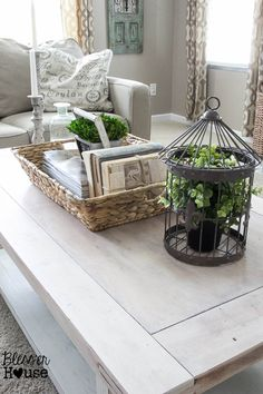 Check out how a plain thrift store find became a chippy white lime finished coffee table with plenty of modern farmhouse charm. Coffee Table Vignettes, Coffee Table Makeover, Coffee Table Styling, Decorating Coffee Tables, How To Decorate Coffee Table, Oval Coffee Tables, Coffe Table, Dining Table, Contemporary Coffee Table