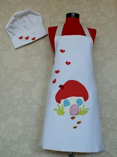 Full apron, white with house and heart applique.