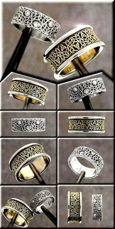 Another pair of custom celtic wedding rings. The jeweler is Tradeshop Jewelry. The knotwork designer is Cari Buziak (Aon Celtic design) polyrhythmic
