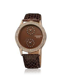 Akribos XXIV Women's AK569BR Diamond Dual Time Brown Leather Watch, http://www.myhabit.com/redirect/ref=qd_sw_dp_pi_li?url=http%3A%2F%2Fwww.myhabit.com%2Fdp%2FB00DEX5LTU%3Frefcust%3DOJCC2NLRWXRSC4XQADKK7PFWJI