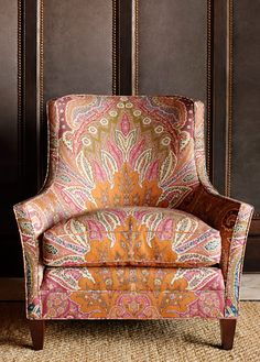 Cambay Paisley print, in Sandalwood, Schumacher fabric. Chair is pretty great too. Upholstered Furniture, Home Furniture, 1930s Furniture, Love Chair, Take A Seat, Cool Chairs, Side Chairs, Dining Chairs, Interior Exterior