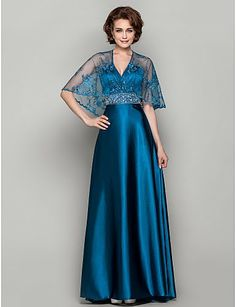 Elegant V-neck Sweep/Brush Train Stretch Satin And Lace Dress_Mother Of The Bride Dresses_Wedding Party Dresses_Findress Lace Evening Dresses, Lovely Dresses, Satin Dresses, Beautiful Gowns, Evening Gowns, Lace Dress, Formal Dresses, Bride Dresses, Column Dress