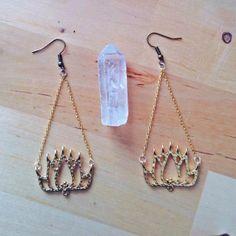 Golden Lotus Earrings by WildcraftJewels on Etsy, $15.00