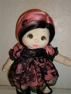 Mattel My Child Doll OOAK Raven- Gothic Pink and Black Girl REDUCED! :)