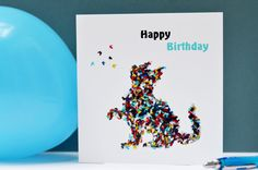 Happy Birthday Cat Card, Birthday Card with Cat, Cat Birthday Card, Cat Lovers Card, Butterfly Birthday Card, Card for Cat Lover