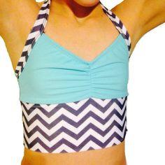 Ocean Chevron Halter Crop Top- Dance wear- Dance Store - iFly activewear - www.iflyactivewear.com