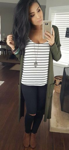 #winter #outfits black and white striped scoop-neck shirt with green coat and distressed black pants #WomenClothing #womenclotheswinter
