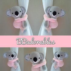 Koala, baby koala curtain tieback crochet PATTERN, right or left koala tieback pattern PDF instant Crochet Amigurumi, Amigurumi Patterns, Crochet Dolls, Crochet Motifs, Crochet Stitches, Crochet Patterns, Baby Koala, Crochet Crafts, Crochet Projects