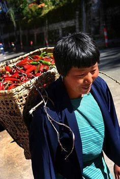 Woman with Basket of Peppers | Bhutan