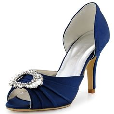 A2136 Navy Blue Peep Toe High Heel Rhinestones Satin Evening Party Court  Shoes  b30de7f810b5