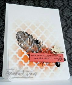 Feather Finery stamp set (PTI),  Ink: Tangerine Tango (SU!),  Tile Work stencil (Hero Arts)