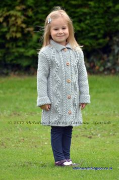 Diy Crafts - Knitting Pattern Diamond Dust Coat Toddler Child and Teen image 1 Diy Crafts Knitting, Knitting For Kids, Baby Knitting, Little Fashionista, Crochet Coat, Crochet Baby, Coat Patterns, Knitting Patterns, Skirt Patterns