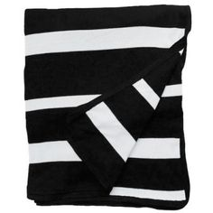 """$250 Black + White Stripe Pattern with 2 raw seam design lines, black border  52"""" wide x 60"""" long 100% Bamboo Cotton, eco-friendly Dry Clean Only Made In USA"""