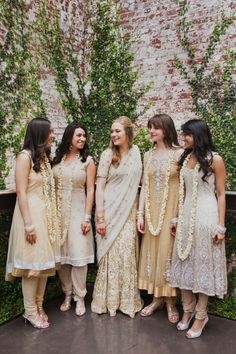 Christina Szczupak Photography - Fusion Indian bride in sari with bridesmaids in beige gold suit salwar kameez --I like the second from the left.