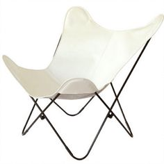 White butterfly chair - black iron frame with premium leather cover