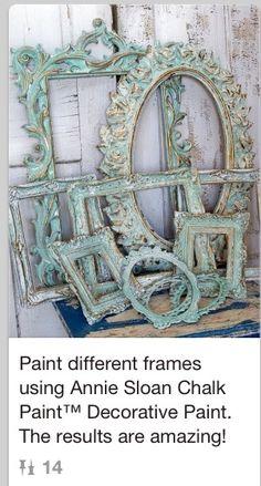 Paint unique vintage picture frames  no tutorial. Idea only.