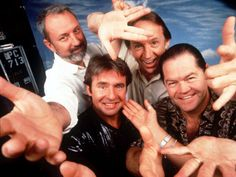 From left to right, Michael Nesmith, Davy Jones, Peter Tork, and Mickey Dolenz, of The Monkees on Feb. 4, 1997