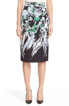 Milly 'Painted Floral' Pencil Skirt  Details: A color-brushed print refreshes the classically tailored style of a cotton-blend faille skirt in a slim, midi-length cut.