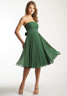 A-line Chiffon Empire Strapeless Knee-length Chiffon Dark Green Evening  Dresses. Bridesmaid in blue 1efa22d60