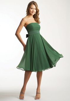 Wholesale Cheap Fetching Green Flat Neckline 2014 A-line Strapless Chiffon Knee Length Wholesale Winsome