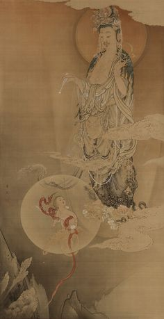 Hibo Kannon 1883 Kanō Hōgai , (Japanese, 1828-1888). Meiji era. Ink, color and gold on silk - Japan.