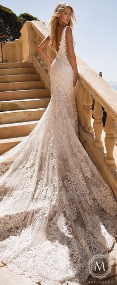 Moonlight Couture Wedding Dresses 2019 & Romantic lace Mermaid lace wedding dress sleeveless plunging open back and long train The post Moonlight Bridal: Glamorous Wedding Dresses for 2019 appeared first on Wedding. Wedding Dress Train, Amazing Wedding Dress, Lace Mermaid Wedding Dress, Gorgeous Wedding Dress, Glamorous Wedding, Mermaid Dresses, Fitted Lace Wedding Dress, Dream Wedding, Trendy Wedding