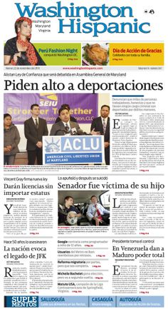 Edición impresa del 22 de Noviembre de 2013!: http://washingtonhispanic.com/index.php?mod=historico&id=321