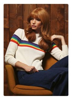 rainbow sweater + jeans, so 70s!