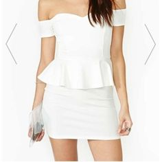 White Off-Shoulder Peplum Dress