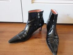 WOMENS ESCADA BLACK PATENT LEATHER SIDE ZIP-UP ANKLE BOOTS SIZE 38 1/2