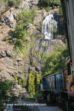 Looking ahead at our Kuranda Scenic Railway train passing before Stoney Creek Falls Cairns, Waterfalls, Waterfall, Falling Waters