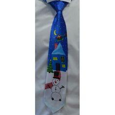 Галстук синий новогодний со снеговиком