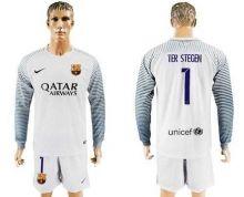 Barcelona #1 Ter Stegen White Goalkeeper Long Sleeves Soccer Club Jersey