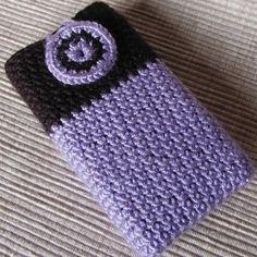 cute purple and black crochet phone case