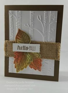 The Woodland Textured Impressions Embossing Folder makes the perfect background for the Vintage Leaves stamped with Early Espresso ink and sponged in Calypso Coral, So Saffron and Pear Pizzazz. So easy to cut with the Leaflets Framelits dies. Fall Cards, Holiday Cards, Christmas Cards, Happpy Birthday, Leaf Cards, Embossed Cards, Thanksgiving Cards, Halloween Cards, Scrapbook Cards