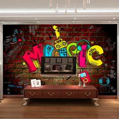 Music graffiti Photo Wallpaper 3D Wallpaper Bedroom Kid Room decor Club Bar Wedding Decoration Fashion Design Wall Mural Pop-Art