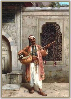 A Musician Playing Before A Mosque In Constantinople :: Stanislaus von Chlebowski - scenes of Oriental life (Orientalism) in art and painting Jean Leon, Empire Ottoman, Arabian Art, Islamic Paintings, Turkish Art, Ludwig, Arabian Nights, Islamic Art, Art History