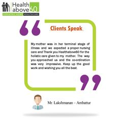 Our customer Mr. Lakshmanan, sharing his experience with #Healthabove60 services. Your feedback is valuable to us...