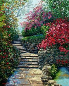 A garden stone path that acsends the viewer towards more colorful gardens. Beautiful Paintings, Beautiful Landscapes, Beautiful Gardens, Beautiful Flowers, Beautiful Places, Beautiful Scenery, Landscape Art, Landscape Paintings, Watercolor Paintings