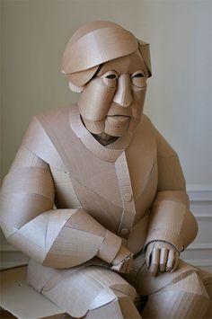Warren King Sculptures Marionette Puppet, Puppets, Cardboard Sculpture, Arts And Crafts, Paper Crafts, Cardboard Furniture, Cubism, Geometric Art, Op Art